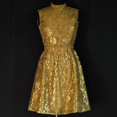 Gino Charles 1960's Gold Lame Party Dress with rhinestone and studs