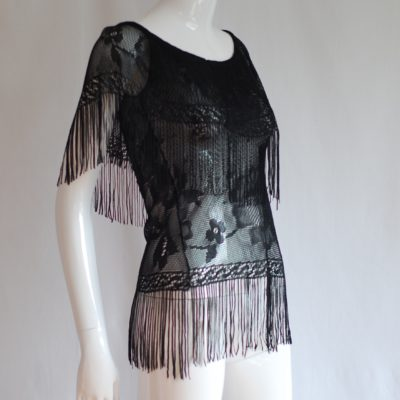 Eva Fisher 1970's Black Couture Fringed Top - italy