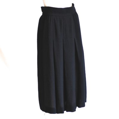 Yves Saint Laurent 1970's black wool midi skirt, made in France