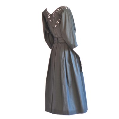 Emmanuelle Khanh 1970's grey cotton dress with open work embroidery. Made in France