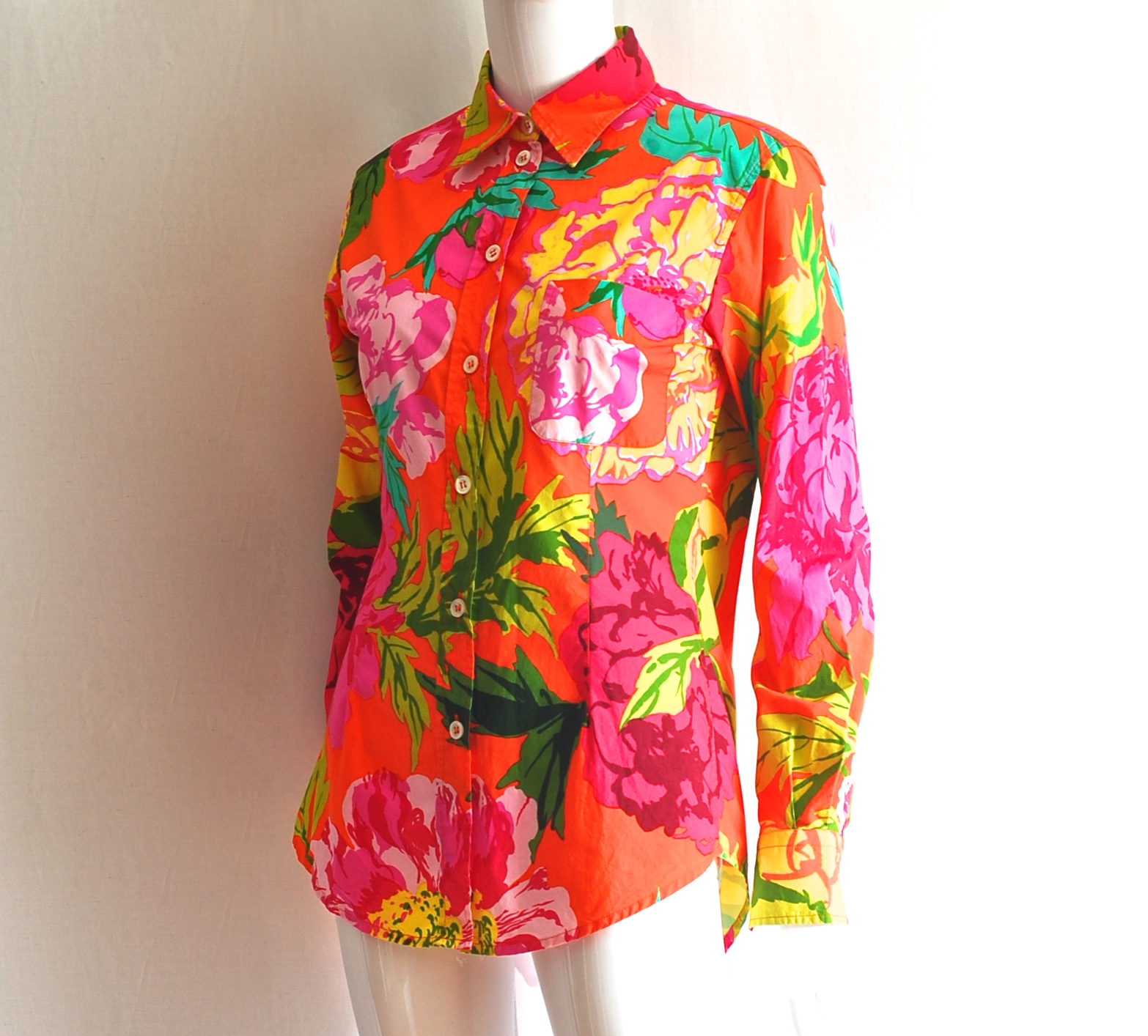 a01be0a6be0 Moschino Couture Floral Print Long Sleeve Cotton Blouse – Italy ...