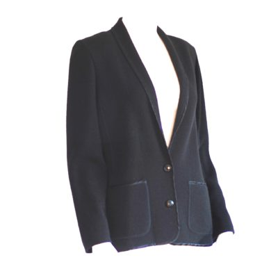 Devernois black knit blazer with big front pockets, made in France