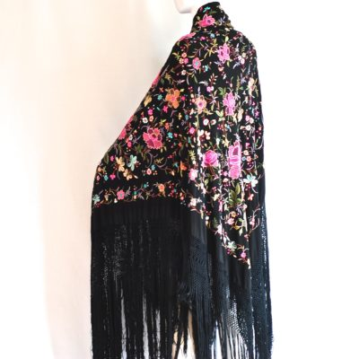 1920's hand embroidered silk fringed piano shawl