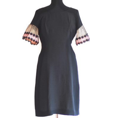 1960's Black Dress With Pink Honeycomb detail in the sleeves