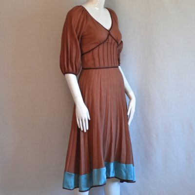 Isis light brown fine wool dress with blue silk trim