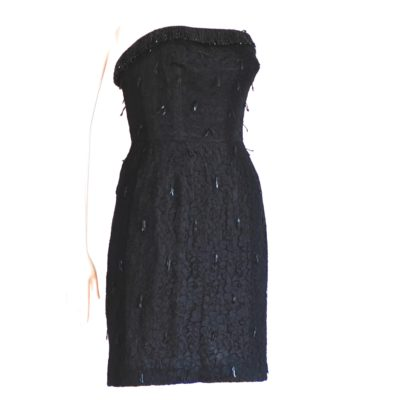 1960's black strapless jacquard dress with couture loop glass beaded trim. Made in Spain.