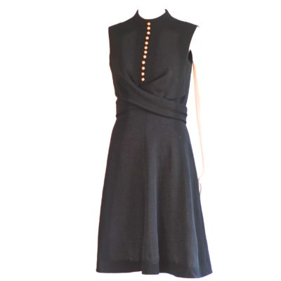 Garfinckel's Washington 1960's black A-line dress with round gold buttons. Made in USA