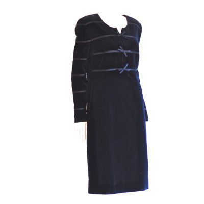 Louis Feraud 1980's black velvet dress with long sleeves and ribbon accents. Made in Germany.