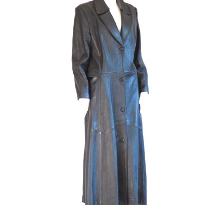 Full length black vintage calf leather coat