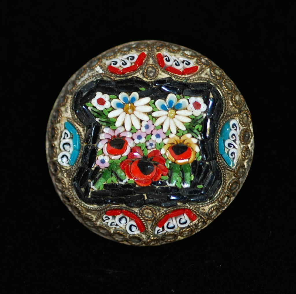 vintage micro-mosaic pin made in Italy