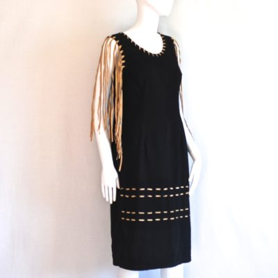 Bianca Maria Caselli black fringed cotton dress with natural leather fringe, made in Italy