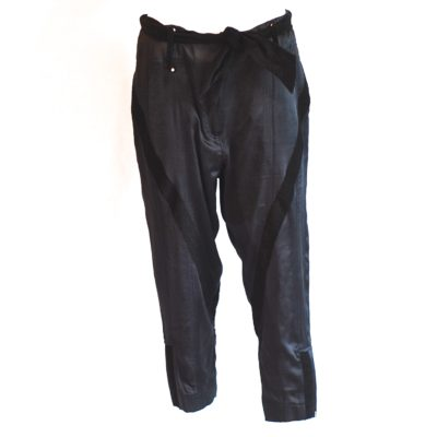 malene Birger black silk and corduroy cropped trousers.