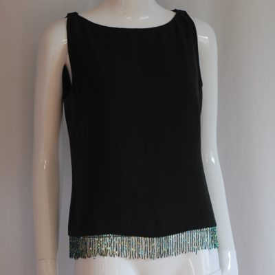 Atos Lombardini sleeveless fray top with beaded trim at the bottom, made in italy