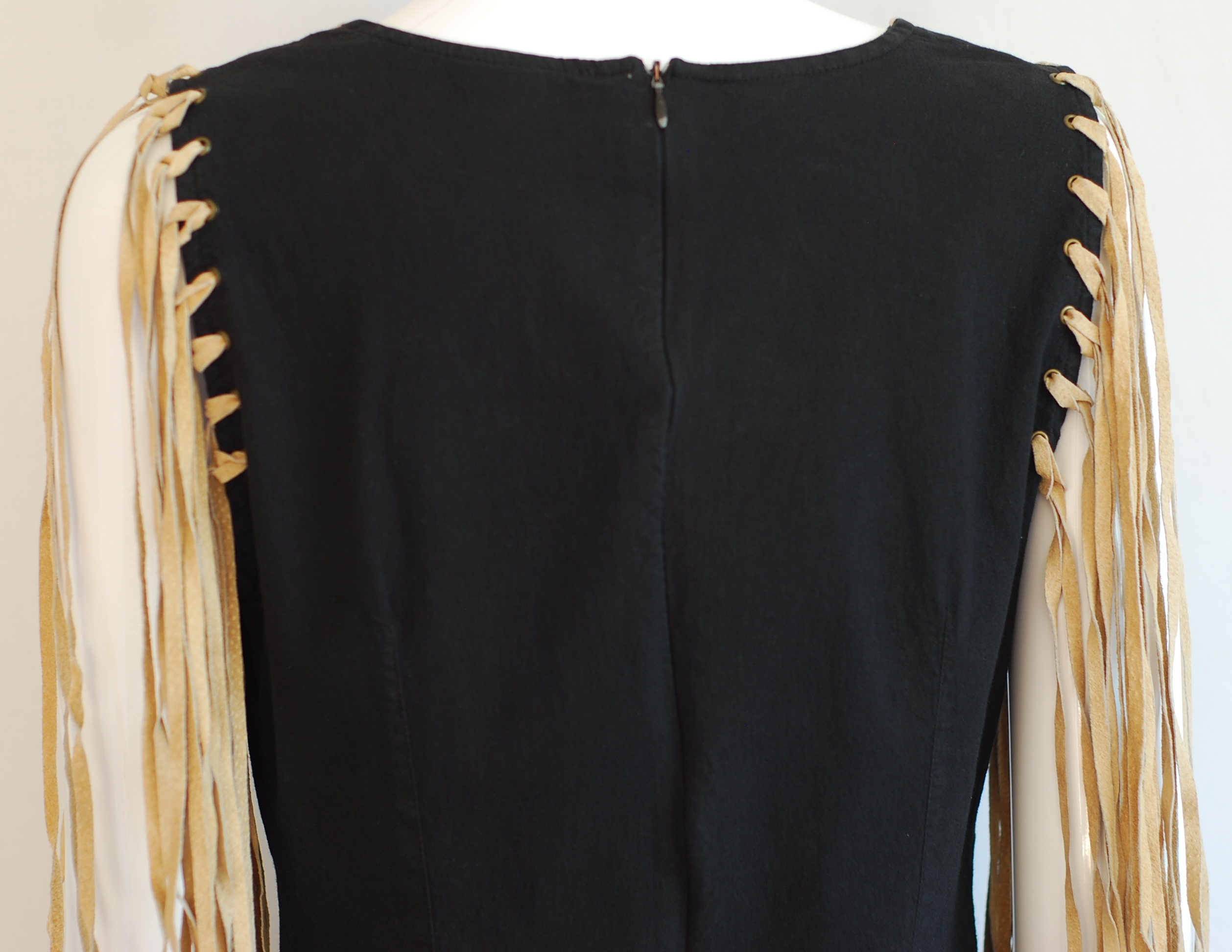 Bianca Maria Caselli Black Cotton Dress With Leather Fringes ...