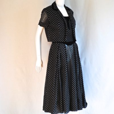 An Original by Lorayne 1940's black and white polka dot dress and jacket with velvet trim.