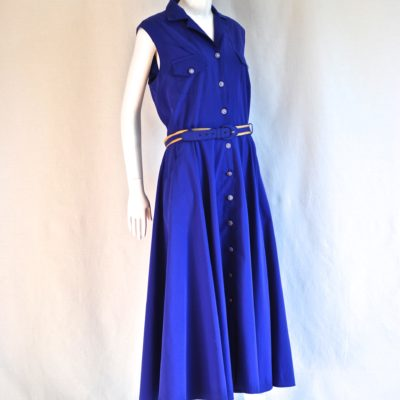 Harrod's Knightsbridge Shubette blue sleeveless summer midi dress. Made in UK.