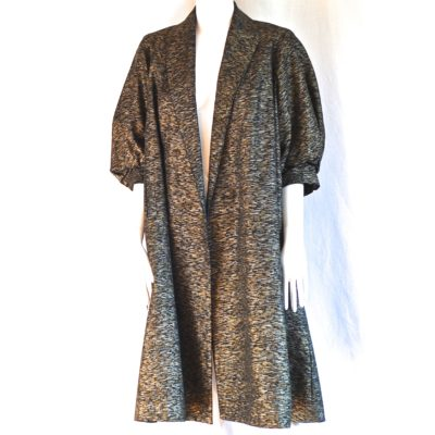 1950's swing coat with three quarter length puffed sleeves and a heavy gold metallic weave