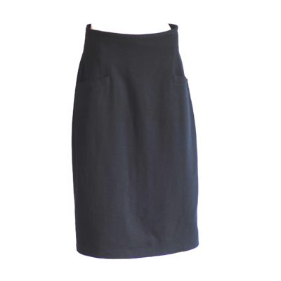 Escada by Margaret Ley black wool skirt with faux front pockets, made in Germany