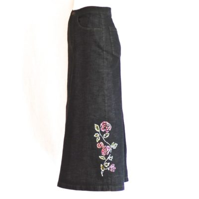 Gray denim midi skirt with floral painting, made in France