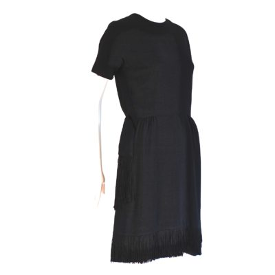 Harold Taub for Madame Runge 1960's black cocktail dress with fringed bottom. Made in Canada.