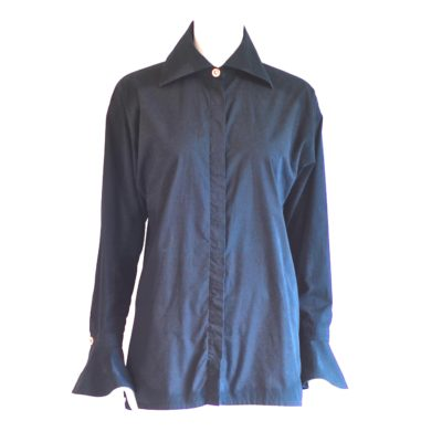Versace Jeans Couture black cotton blouse with bell sleeves, made in Italy.