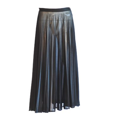 Amazone sheer black pleated midi skirt, made in France