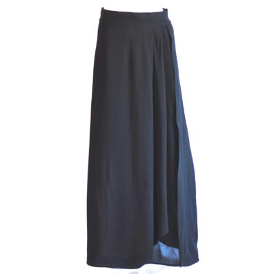 1940's black, layered crepe maxi skirt.