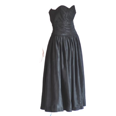 Clementine Couture black strapless dress, fifties style, made in France.