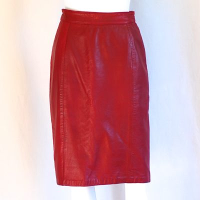 The Olde Hide House Acton deep red, high waisted leather pencil skirt, made in Canada