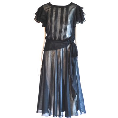 Nippon Boutique 1970's sheer black romantic dress with side tie, made in USA.