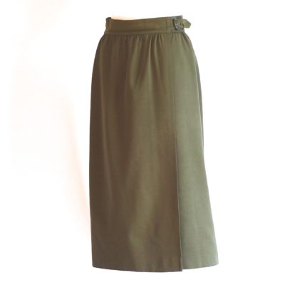Escada lined olive green wool wrapi skirt, made in Germany