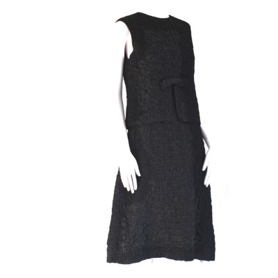 Arkay 1960's Two Piece Crinkly Black Dress, made in Canada.