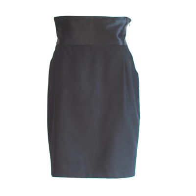 Studio 0001 Ferre black wool pencil skirt with wide wating waist band, made in Italy