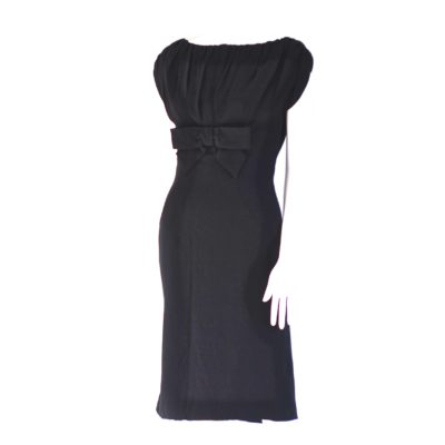 Jermaine's 1950's black bombshell dress with gathered top, made in Canada.