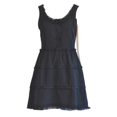 Ricki Reed By marchioness 1960's black crepe mini dress with ruffled trim, made in France.