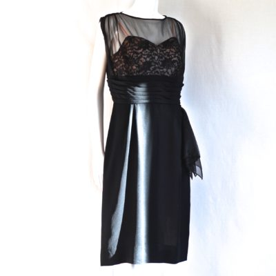22d9488ab65e 1960 s Black Cocktail Dress With Sheer Top   Lace Detail