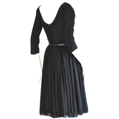 Jr. Murray Bowman 1950's Black Wool & Chiffon Dress with low cut back