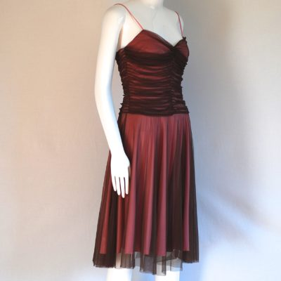 Betsey Johnson flared brown dress with gathered bodice and spaghetti straps, made in USA