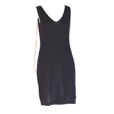 Donna Karan basic black sleeveless knit dress, made in Hong Kong