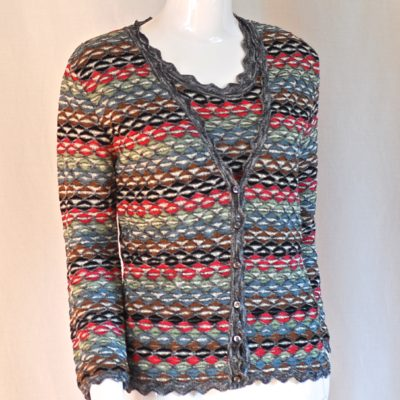 Mixed colour striped, metallic knit sweater set, made in Italy