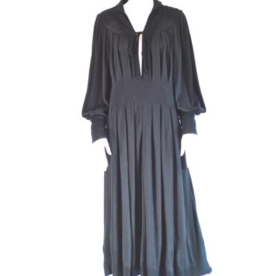 Azzaro Ville Paris 1970's Black Knit Midi Dress , made in France