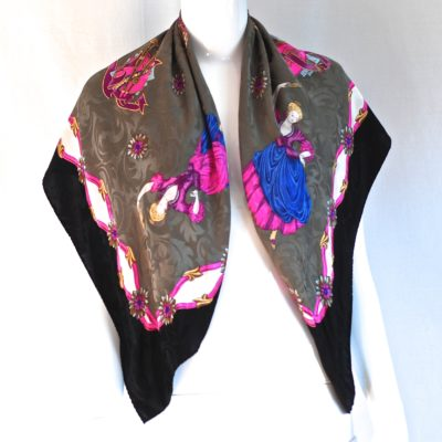 Romantic and whimiscal silk scarf, made in Italy