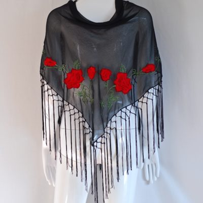 Red on black embroidered shawl or scarf with fringed edge