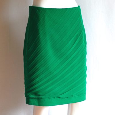 Ganni Versace Couture green wool skirt with pleating, made in Italy