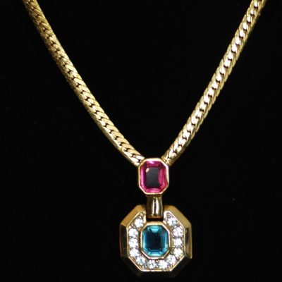Nina Ricci Vintage necklace with pink, blue and clear crystals, signed