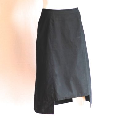 Anteprima black cotton skirt with cut out hem, made in italy