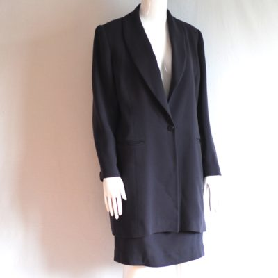 Therese Baumaire gray wool suit with long jacket, made in France