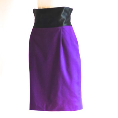 Studio 0001 Ferre purple wool pencil skirt with satin waistband, made in Italy