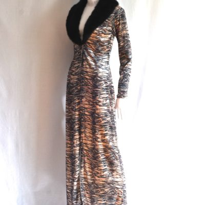 Exelia Paris Tiger Print Maxi Coat With Faux Fur Collar, made in france