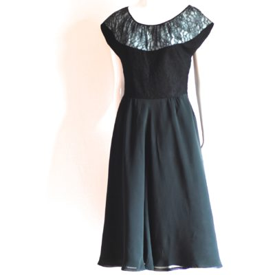 1940's black lace & chiffon party dress with blue accent